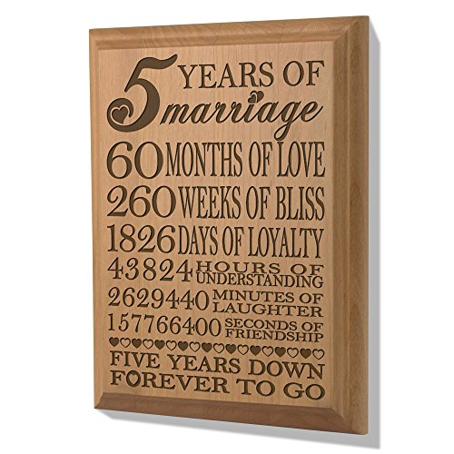 KATE POSH - 5th Anniversary Engraved Natural Wood Plaque, 5th Wedding for Her, for Him, for Couple, 5 Years of Marriage, 5 Years Together as Husband & Wife