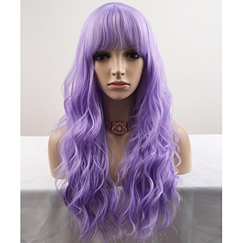 BERON 23'' Women Girls Lovely Synthetic Mix Color Long Curly Wigs Pin Curls with Neat Bangs Hairnet Included (Lavender Purple) ()