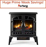 Jasper Free Standing Electric Fireplace Stove - 25 Inch Black Portable Electric Vintage Fireplace with Realistic Fire and Logs. Adjustable 1500W 400 Square Feet Space Heater Fan
