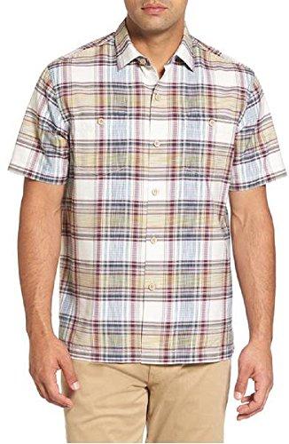 Tommy Bahama Lazlo Plaid Silk Blend Camp Shirt (Color Coconut Cream, Size XL) (Shirt Plaid Silk)