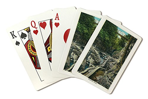 (Watkins Glen, New York - View of a Suspension Bridge (Playing Card Deck - 52 Card Poker Size with Jokers))
