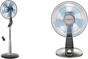 Rowenta VU5670 Turbo Silence Oscillating Fan, Standing Fan, 5 Speed Fan with Remote Control & VU2531 Turbo Silence Oscillating 12-Inch Table Fan Powerful and Quiet, 4-Speed, Bronze