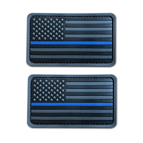 2 Pack 2x3.5 3D PVC Rubber Thin Blue Line US USA American Flag Patch Hook-Fastener Backing (Grey)