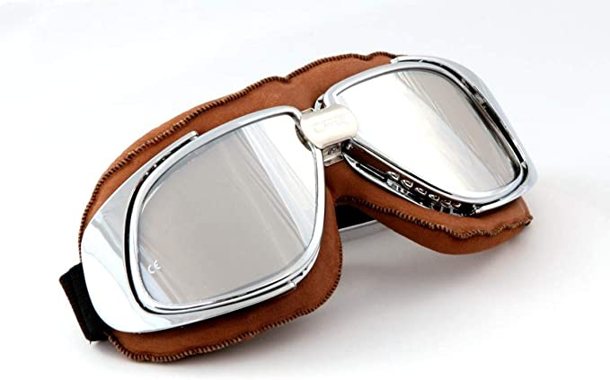 Qubeat Motorradbrille Fliegerbrille Brille Biker Braun Echt Leder Verspiegelte Gläser Auto