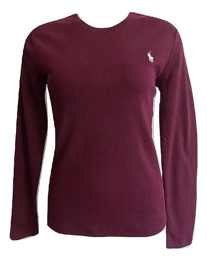 Ralph Ladies Polo Lauren Long T Neck Shirt Sleeve Top Crew TcK1J3lF