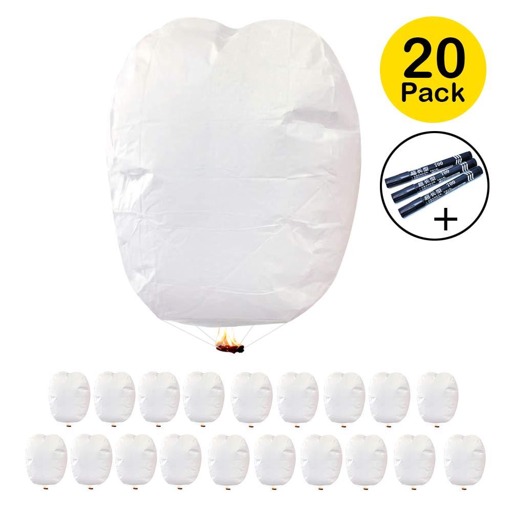 Oasisblossom Chinese Lanterns, 20 Pack White Flying Sky Lanterns,100% Biodegradable Fully Assembled Wishing Lanterns to Release in Sky (20 Pack, White) by Oasisblossom