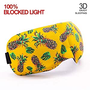 MACOFE Yellow Pineapple Sleep Mask, Smooth Blindfold for Travel, Relax, Shift Workers, Super Soft Fabric (Yellow Pineapple) mooth Comfortable Sleeping Mask (Yellow Pineapple).