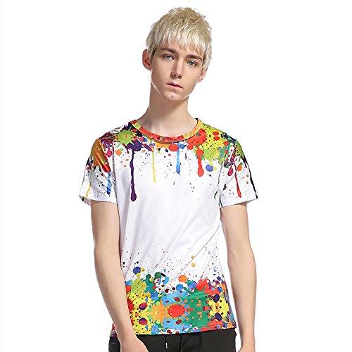 Spruzzi shirt Manica Corta T Shirt T198 Tees T Casuale Estate 3d Stampato Showu Uomo xUIg5Sn