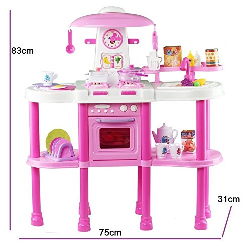 deAO Kitchen Playset with Lights and Sounds Includes Multiple Kitchen Accessories in Color