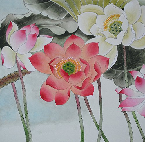 Jiangnanruyi Art Lotus Flower Original Hand Painted Artwork Unframed Chinese Brush Ink and Wash Watercolor Painting Drawing Decorations Decor for Office Living Room Bedroom (16×16inch, Artwork-01)