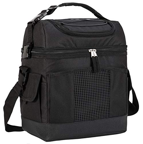 ooler Bag Tote Large Insulated Lunch Bag for Picnic, Grocery, Kayak, Car, Travel, Black ()