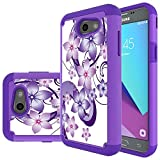 Samsung Galaxy J3 Mission Case,J3 Eclipse,J3 Emerge,J3 Prime,J3 Luna Pro,Sol 2,Amp Prime 2 Case,Yiakeng Shockproof Impact Protection Tough Rugged Armor Cover for Samsung J3 2017 (Purple Flower)