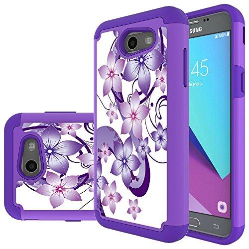 Samsung Galaxy J3 Mission Case,J3 Eclipse,J3 Emerge,J3 Prime,J3 Luna Pro,Sol 2,Amp Prime 2 Case,Yiakeng Shockproof Impact Protection Tough Rugged Armor Cover for Samsung J3 2017 (Purple Flower) (Samsung Virgin Mobile Phone Cases)