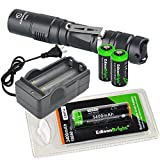 Sunwayman P25C 1000 Lumen CREE XM-L2 U2 LED long throw tactical flashlight with EdisonBright EBR34 rechargeable 3400mAh 18650 li-ion Battery, charger and 2 X EdisonBright CR123A Lithium Batteries Bundle