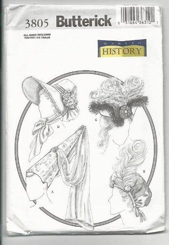 Butterick 3805 Making History - 4 Period Hats Pattern