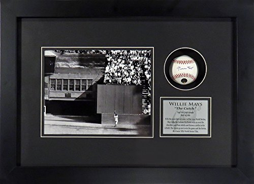 "Willie Mays Autographed ""The Catch"" Horizontal Shadowbox with Autographed Official MLB Baseball (COA)"