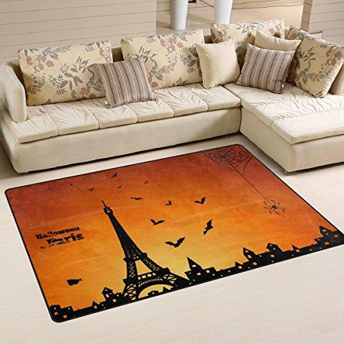 Sunlome Halloween Paris Eiffel Tower Bat Spider Area Rug Rugs Non-Slip Indoor Outdoor Floor Mat Doormats for Home Decor 31 x 20 inches