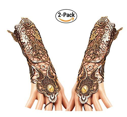 - Charm.L Grace Gothic Black Lace Bracelet Steampunk Slave Wristband Ring Sexy Halloween Wedding Accessories (#2572PCS)