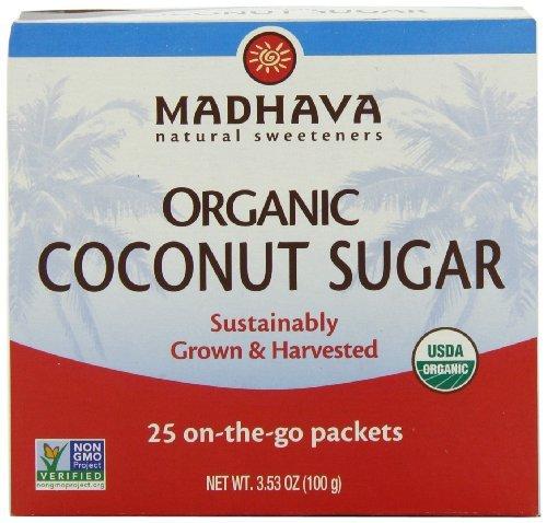 Madhava Organic Coconut Palm Sugar Single Serve Packets 3.53 Oz. by Madhava (25 Single Serve Packets)