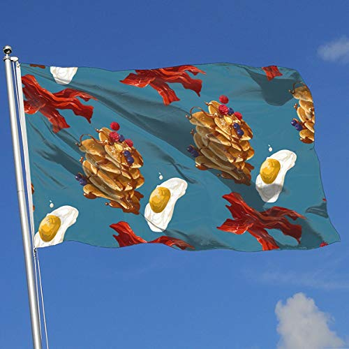 DENETRI DYERHOWARD Fly Breeze 3 X 5 Foot Flag Breakfast Bacon Pattern Vivid Color and UV Fade Resistant Canvas Header and Double Stitched Garden Flags