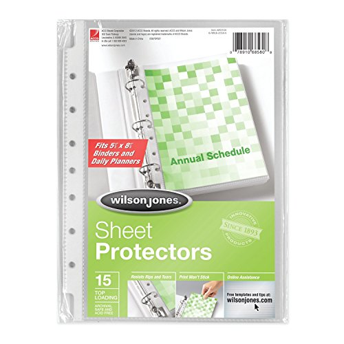 Wilson Jones Top-Loading Mini Sheet Protectors, 5.5 x 8.5 Inches, Clear, 15 Pack (W21516) ()
