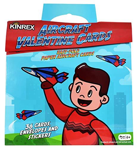 KINREX Valentine Airplane Gifts Cards- Valentines Day Airplane Cards for Kids - Happy Valentines Day Paper Airplanes - Valentines Cards for Classroom - Valentines Crafts for Kids - 36 Count