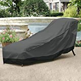 NEHÂ Outdoor Patio Chaise Lounge Chair Cover 78″ Length Dark Grey with Black Hem