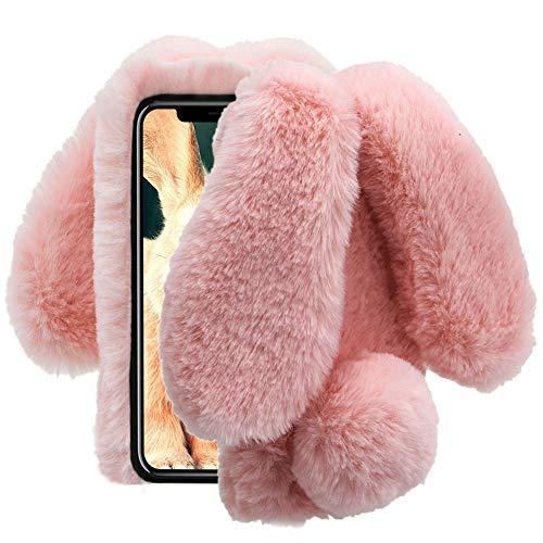 Aearl Samsung Galaxy J7 2018 Case,Samsung Galaxy J7 2018 Rabbit Fur Ball Case,Luxury Cute 3D Homemade Diamond Winter Warm Soft Furry Fluffy Fuzzy Bunny Ear Plush Back Phone Case Cover for Women-Pink ()