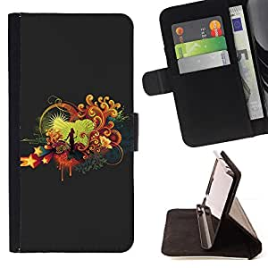 - ART LOVE SINGER WOMAN STAGE STAR MUSIC - - Prima caja de la PU billetera de cuero con ranuras para tarjetas, efectivo desmontable correa para l Funny HouseFOR Samsung Galaxy S5 Mini, SM-G800