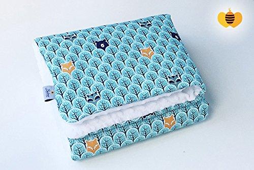 BABEES© Baby Decke MINKY 100x75 Baumwolle Plüsch [WALD + WEIß] SELLIT