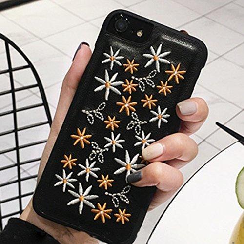 BING Für iPhone 7 Stickerei Sterne und Blumen PU Leder Schutzmaßnahmen Rückseite Cover Hard Case BING