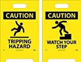 NMC FS36 Double Sided Floor Sign, ''CAUTION TRIPPING HAZARD - WATCH YOUR STEPS'', 12'' Width x 20'' Height, Corrugated Polyethylene, Black on Yellow