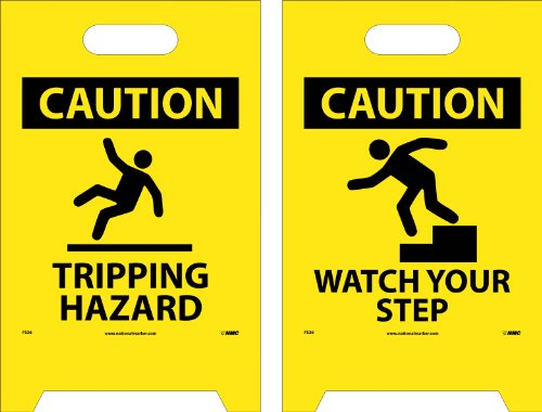 NMC FS36 Double Sided Floor Sign, ''CAUTION TRIPPING HAZARD - WATCH YOUR STEPS'', 12'' Width x 20'' Height, Corrugated Polyethylene, Black on Yellow by NMC