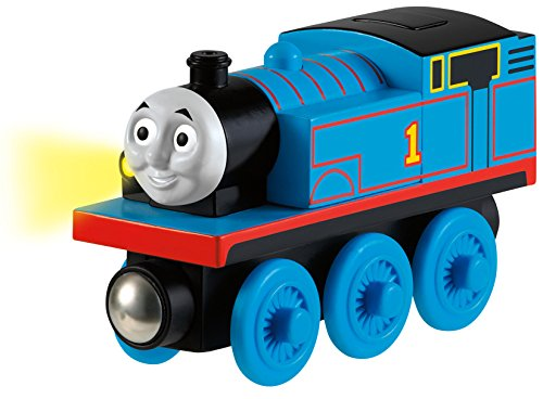 Fisher-Price Thomas & Friends Wooden Railway Train Engine, Talking Thomas - Battery Operated - Fun Phrases and Sounds - Working Headlight - Magnetic - Real Wood