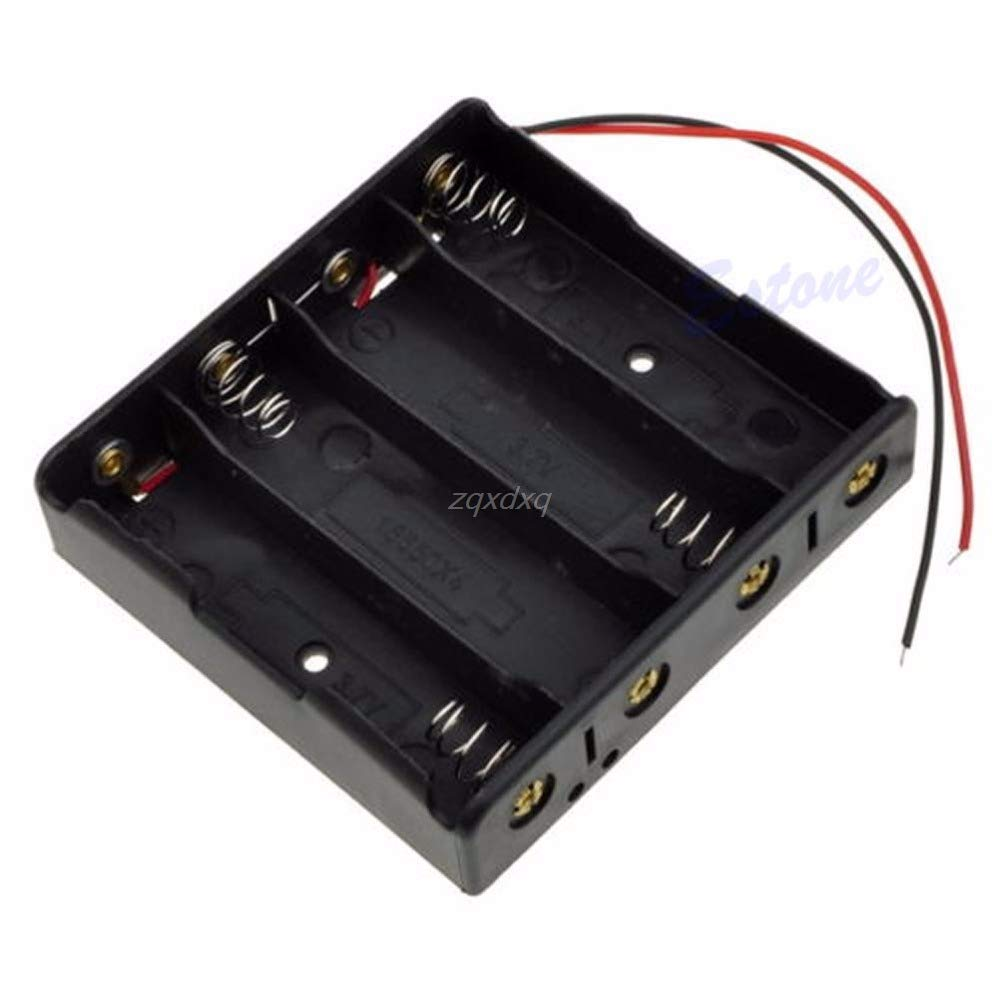 1 PC New Battery Storage Case Plastic 4 x 18650 Box Holder Black with 6'' Wire Leads Drop Ship Electronics Stocks