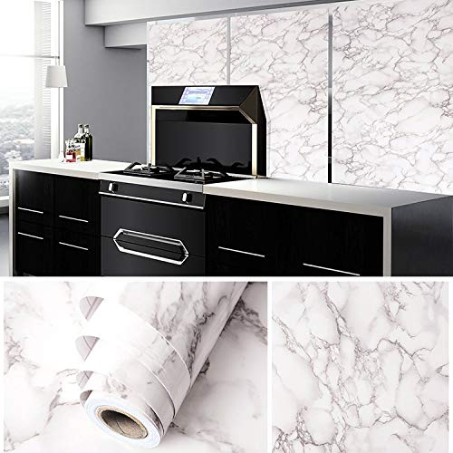 Wolpin Wall Stickers Marble Wallpaper Furniture (60 x 300 cm) Kitchen, Cabinets, Almirah, Tabletop, Plastic Table, Wooden Table, Wardrobe, Renovation PVC DIY Self Adhesive, White and Grey