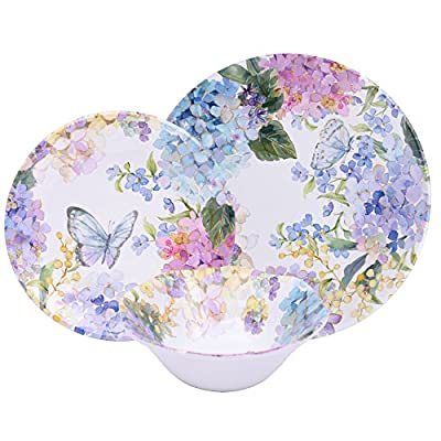 """First Design Global DNS021217HD Dinnerware Set (12 Piece), Small, Hydrangea - Heavy Weight Melamine Durable break resistant, chip resistant, scratch resistant Service for 4 includes: 4 each 11"""" dinner plate, 9"""" Salad plate, 6"""" bowl - kitchen-tabletop, kitchen-dining-room, dinnerware-sets - 51TidfqTMzL. SS400  -"""