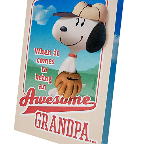 Hallmark Father's Day Greeting Card for Grandpa from Kids or Child (Peanuts Snoopy Baseball) Photo #5