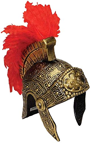 [Roman Trojan Warrior Fighting Soldier Costume Helmet with Red Feather] (Mens Trojan Costume)