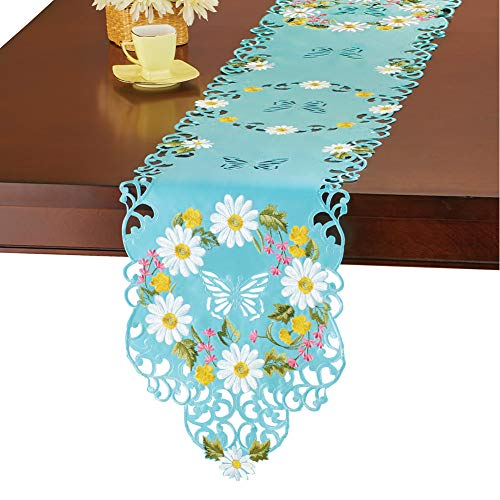 Collections Etc White Daisies with Blue Background Embroidered Cutout Table Linens - Seasonal Dining Room Accent, Runner
