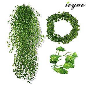 Ivyue 84ft Ivy Garland Artificial Ivy Leaf - Ivy Leaves Greenery Fake Garland Plants Ivy Chain Garland Silk Vine Hanging for Wedding Party Garden Wall Office Home Indoor Outdoor Decoration 12P 28