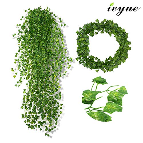 Wisteria Natural Hues Natural - Ivyue 84ft Ivy Garland Artificial Ivy Leaf - Ivy Leaves Greenery Fake Garland Plants Ivy Chain Garland Silk Vine Hanging for Wedding Party Garden Wall Office Home Indoor Outdoor Decoration 12P