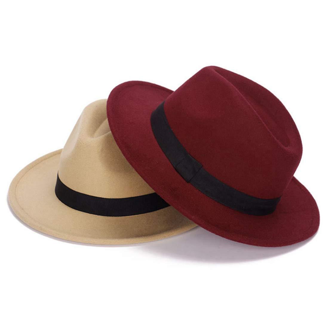 Mens Fedora Hats Unisex Classic Vintage Wide Brim Wool Felt Jazz Cap Gangster Hat with Black Band