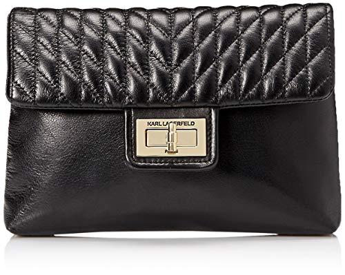 Karl Lagerfeld Paris Womens Agyness Belt Bag, Black/Gold