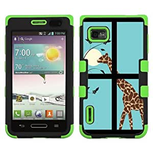 One Tough Shield ? 3-Layer Hybrid Case (Black/Green) for LG Optimus F3 (LS720/VM720/MS659) - (Moon/Giraffe)