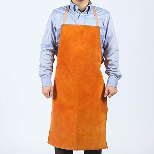 Welder Apron Heat Insulation Cowhide Leather Welding Protection Gear Blue