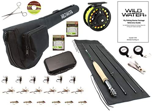 Wild Water Fly Fishing 7 Foot, 4-Piece, 3 4 Weight Fly Rod Deluxe Complete Fly Fishing Rod and Reel Combo Starter Package