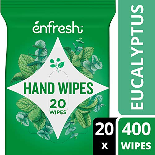 Invigorating Eucalyptus Mint Naturally Derived Hand Wipes by Enfresh - Wipes Away 99.9% of Germs – 20 Count (Pack of 20, 400 Wet ()