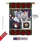 Breeze Decor H114097 Calendar Kittens Winter Christmas Vertical House Flag, 28
