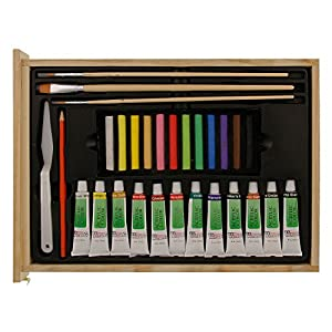 "US Art Supply 62-Piece Wood Box Easel Painting Set- Including Box Easel, 12-tubes of Acrylic Paint Colors, 12-Artist Pastels, 3 Assorted Acrylic Painting Brushes, Wood Palette, Plastic Palette Knife & Hb Pencil, 12-tubes of Oil Paint Colors, 12-Oil Pastels, Plastic Palette Knife, 3 Assorted Oil Painting Brushes, 2 - 8"" x 10"" Canvas Panels, 9"" x 12"" Sketch Pad"